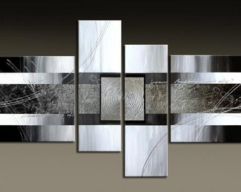 ABSTRACT PAINTING-  - Painting Original Canvas Art Contemporary Abstract Modern Art - 4 set