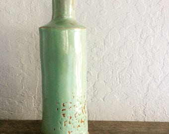 large handmade ceramic pistachio bottle - 10% proceeds benefit humane society
