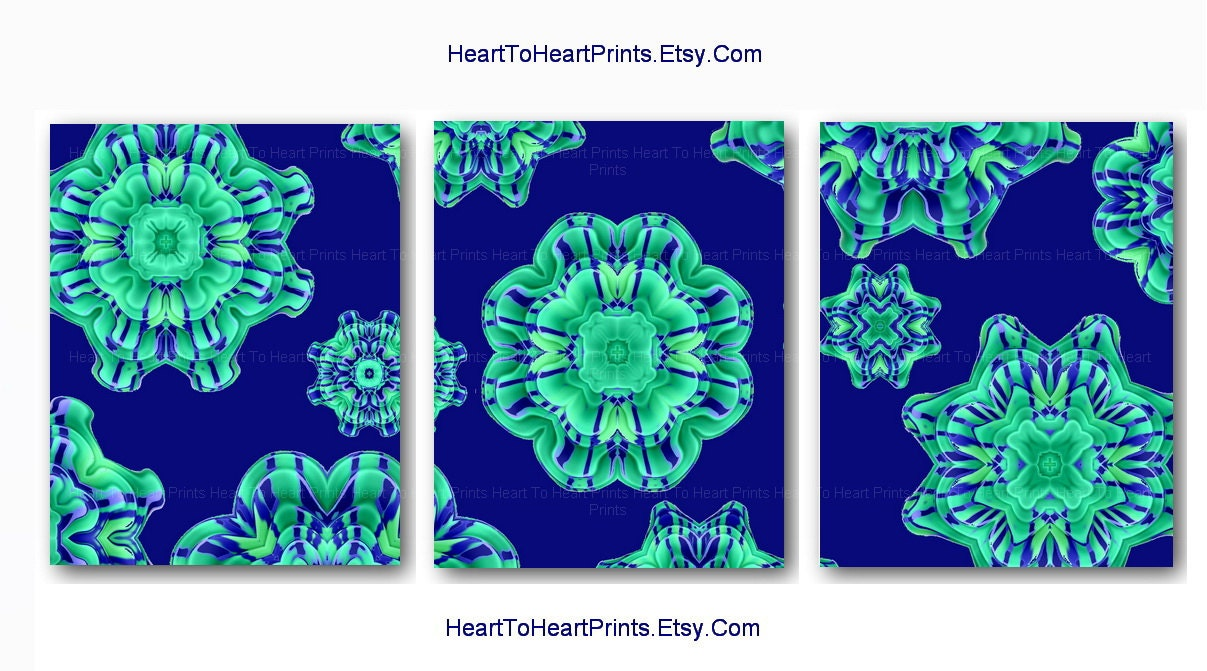 Teal Green Wall Decor : Teal green navy blue flower wall art flowers by