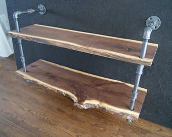 "CUSTOM SIZED 30"" Wide Live edge Black Walnut Shelving Unit"
