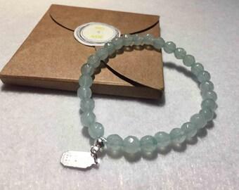 Green Amazonite bracelet woman - Facets lithotherapy-6 mm - unique model