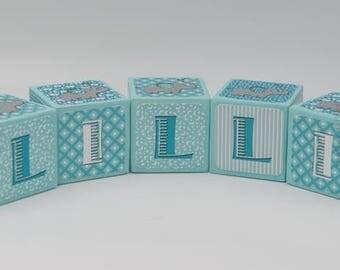 Elephant baby name blocks -Baby Name Blocks - Nursery Name Blocks - Turquoise and Teal - Cute elephant theme- keepsake - baby shower gift