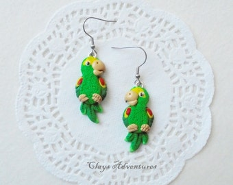 Parrot funny earrings yellow naped amazon handmade from polymer clay.