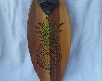 Handcrafted Pineapple Surfboard Woodburn Bottle Opener