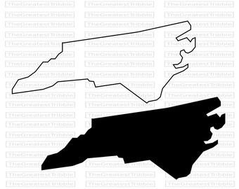 North Carolina State Map SVG PNG JPG Vector Graphic Clip Art North Carolina State Outline North Carolina Silhouette