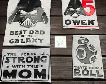 Darth Vader Star Wars Birthday Shirt Personalized With Name and Age