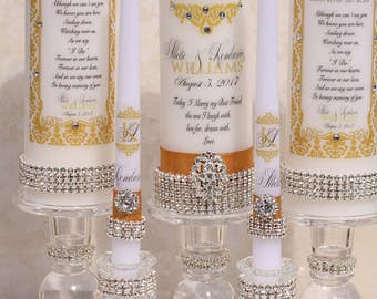 Gold Crystal Unity Candle and 2 Memorial Candle Sets....Holders included, Unity candle, Memorial Candle, Church Wedding, Wedding Candles
