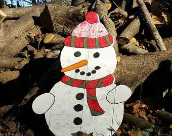 Pallet snowman, Outdoor snowman, Christmas decor, Outdoor Christmas decorations, Pallet board snowman