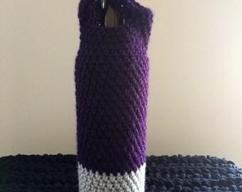 Purple wine bag, wine bag, wine cozy, cozy, wine, wine holder, wine bag, crochet, purple, liquor, vodka