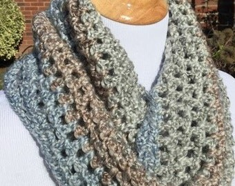 Crochet Infinity Scarf, Womens Infinity Scarf, Blue, Brown, Teal, Green, Christmas Gift, Handmade Scarf, Gift for Her,  FREE SHIPPING