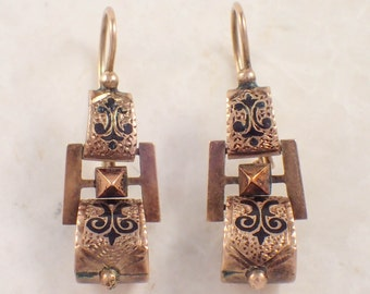 Victorian 14K Yellow Gold Enamel Earrings
