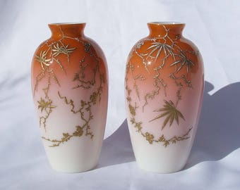 Antique Thomas Webb Stourbridge Art Glass Peach Blow Vases - Circa 1870's Aesthetic Movement, Japonism, Jules Barbe Gilded Decoration