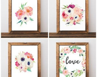 Floral Nursery Decor - Watercolor Nursery Art - Anemone Nursery - Girls Nursery Prints - Pink Nursery - Digital Download 8x10 - Set of 4