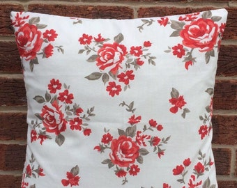 """12"""" Red & White Floral Cushion Cover Shabby Chic, Country Cottage, Vintage Style"""