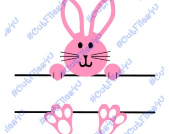 Bunny with Name or Monogram: SVG, PNG cut files included for vinyl, paper, etc. with Silhouette Cameo or Cricut