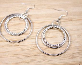 BIG BOHO Earrings - BIG Surgical Steel Hoops - Steel Dangle Hoops - Big Dangle Hoops - Big Hoops -