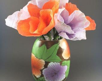 Orange and Purple Paper Flower Bouquet in a Vintage Vase, paper flowers, paper bouquet, floral arrangement, paper flower arrangement