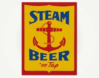 Steam Beer Poster - Vintage Brewery Advertising Poster - Vintage Pub Sign Print