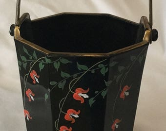 Antique Art Deco Black Glass w/ Hand Painted Bleeding Heart Flower Basket