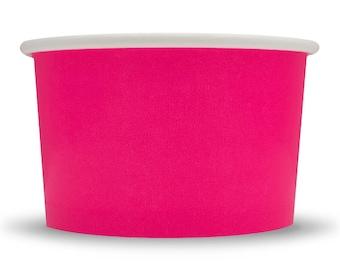 4 oz Pink Paper Ice Cream Cups - Amazing Colors, Multiple Quantities, Dessert Bowls, Low Price! Fast Shipping! Frozen Dessert Supplies UNIQ