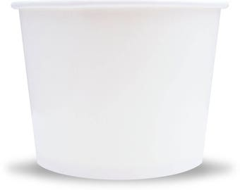 12 oz White Paper Ice Cream Cups - Great Disposable Paper Cups, Ice Cream Supplies, Low Price! Fast Shipping!Frozen Dessert Supplies