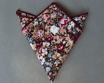 Men's Brown FloralPockets Square,Wedding Handkerchief,Groomsmen ,FatherGift,Boyfriend,Gift,Party,Vintage,Prom,Wedding Accessories,Graduation