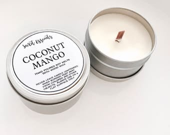 Coconut Mango Natural Soy Wax Tin Candle with Wooden Wick