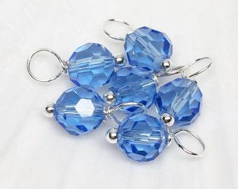 Crystal dangles, 6mm Facet Light Blue Crystal, dangle beads, necklace charms, crystal dangle beads, dangle charm, bead dangles, charms, 8pcs