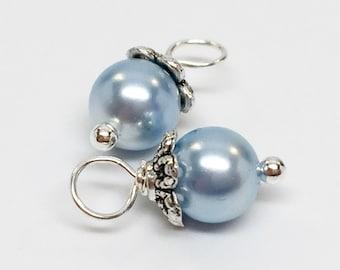 Swarovski pearl birthstones, dangle beads, birthstones, pearl dangle beads, dangle charms, beaded dangle, pearl dangles, bead dangles, 4pcs