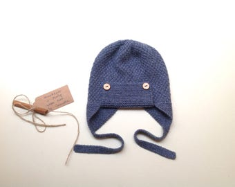 READY TO SHIP - 100% cashmere earflap pilot aviator hat,, color blue jeans melange, handknitted , Size 12-24 months