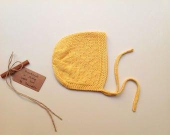 SALE! - Baby hat bonnet handknitted 100% pima cotton yellow sunshine, 3-6 months