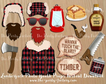 Lumberjack Photo Booth Props Instant Download, Digital File, Printables
