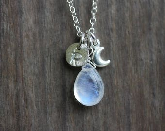 Rainbow Moonstone Initial & Moon Charm Necklace, Sterling Silver Jewelry, Blue Flash Gemstone, June Birthstone, Personalized Jewelry, Boho