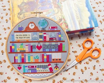 Book Lover's Shelf Bookshelf Easy Beginners Cross Stitch Pattern PDF