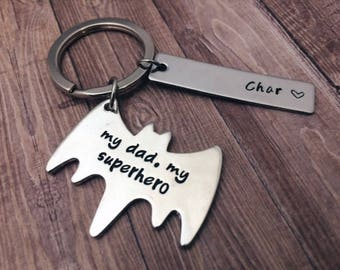 "Gifts for dad keychain ""my dad, my superhero"" - Father's day gift batman name keychain - Batman custom keychain for dad - Christmas gifts"