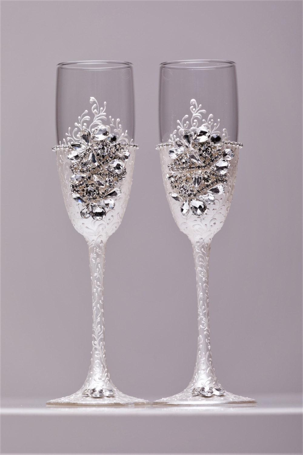 Personalized glasses champagne flutes silver wedding toasting - Unusual champagne flutes ...
