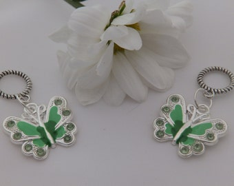 Set of Two Green Butterfly Stitch Markers for knitting for needles up to 6 mm.