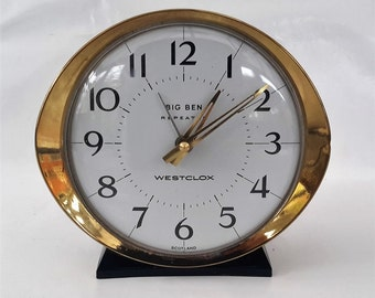 Big Ben repeater alarm clock, Westclox wind up alarm in working order. 1950s clock, White face gold surround.