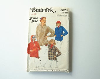 Vintage Butterick 5628 Womens Top With Hood Paper Sewing Pattern Size 16