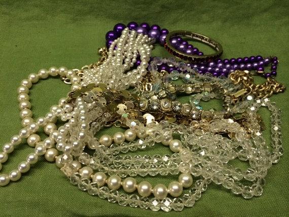 Vintage / Costume Jewelry Necklace Bracelet Lot Beads Glass Metal Re-Purpose Art Supply