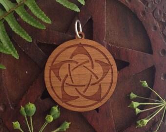 Flower Pentagram Design- Laser Engraved Wood Pendant Necklace - pagan, wicca, witch.