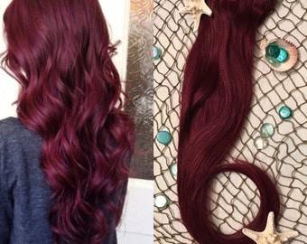 Burgundy Hair Extensions, Red Wine Hair, Clip in Hair,  Magenta Hair, Thick Hair, Mermaid Hair, Human Hair Extensions, Maroon Hair