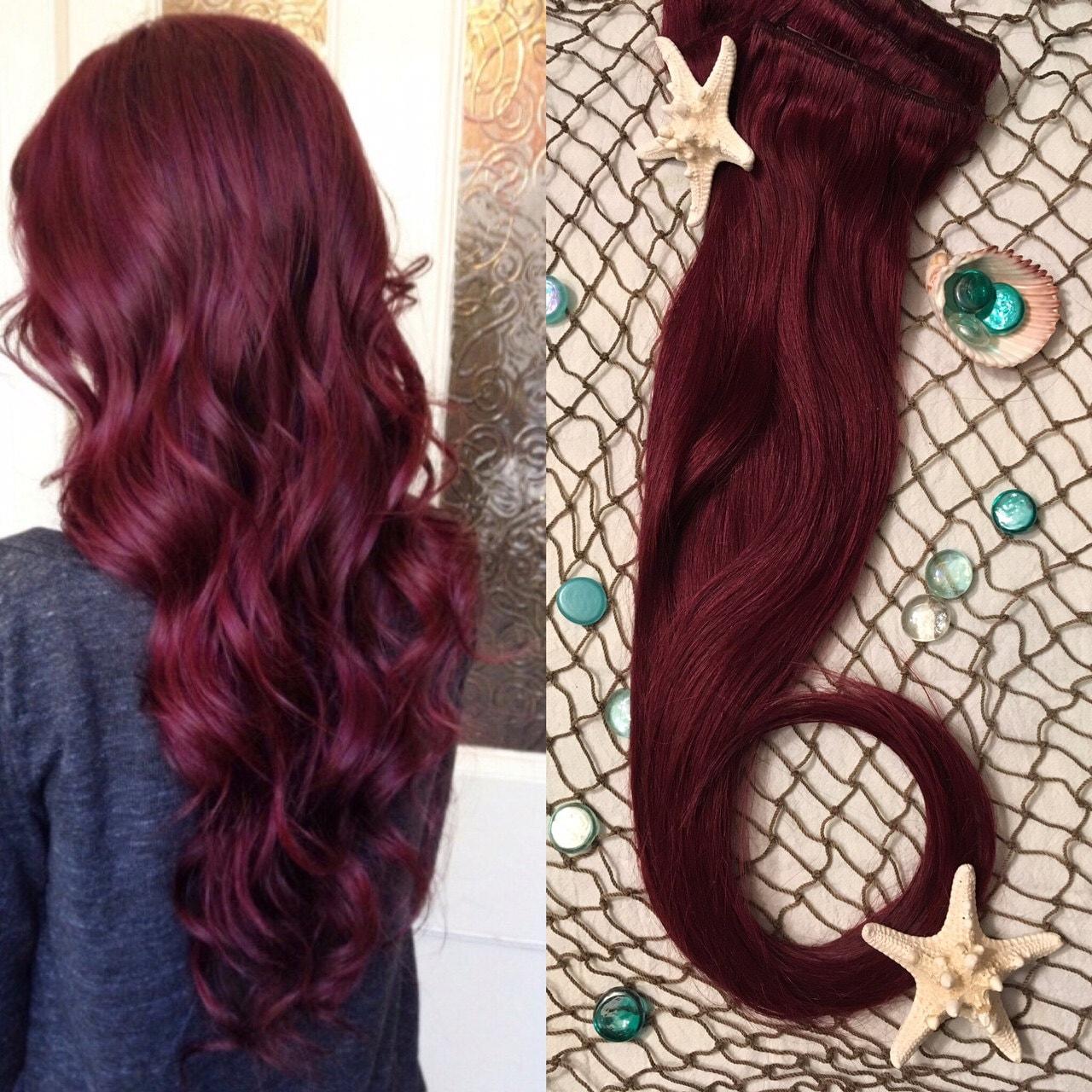 Burgundy hair extensions red wine hair clip in hair zoom pmusecretfo Images