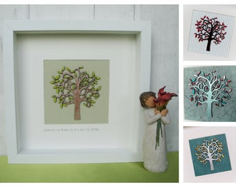 Personalised Tree of Life Wall Art, Hand Painted Tree of Life Picture, Family Tree Wall Art, Tree of Life Box Frame, choice of colours