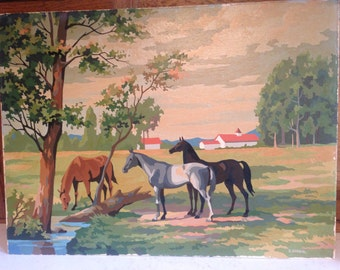 RESERVED Horses paint by number oil painting