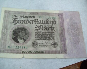 Germany 100000 mark 1923 banknote Reichsbanknote by German Bank