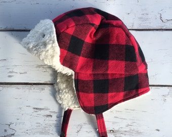 Red Bufflao Plaid Hat - Toddler Trapper Hat - Infant Bomber Hat - Adult Lumberjack Hat - Plaid Winter Hat - Ear Flap Hat - Winter Hat