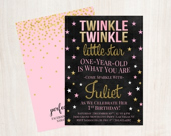 Pink and Gold Twinkle Twinkle Little Star Invite, Twinkle Twinkle Printable Birthday Invitation, Girls First Birthday Invite