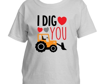 I Dig You with hearts Youth Valentines T-Shirt Boys or Girls
