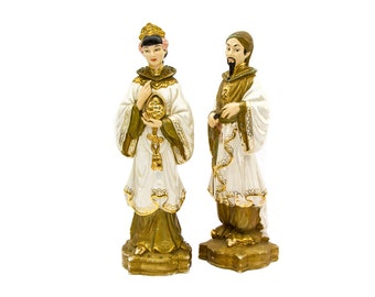 A Pair of Holland Mold Chinoiserie Asian Ceramic Figurines